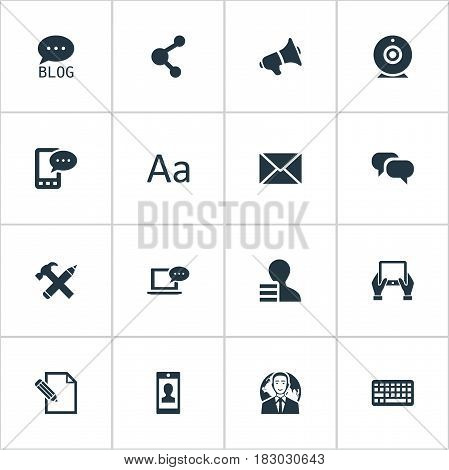 Vector Illustration Set Of Simple Blogging Icons. Elements Notepad, Document, Site And Other Synonyms Share, Tablet And Blog.