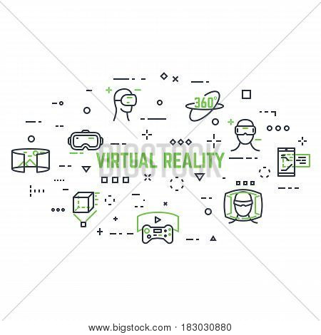 VR icon set. Abstract circle. Line style thin and thick outlines vector. Glasses headset helmet 360 degrees icon joystick and other objects related to virtual reality. Pixel perfect vector.