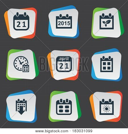 Vector Illustration Set Of Simple Calendar Icons. Elements Summer Calendar, Reminder, Agenda And Other Synonyms Data, Annual And Day.