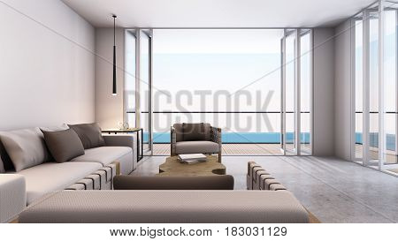 Livingroom minimal design take sea view - 3D render