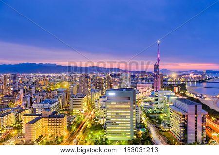 Fukuoka, Japan downtown city skyline.