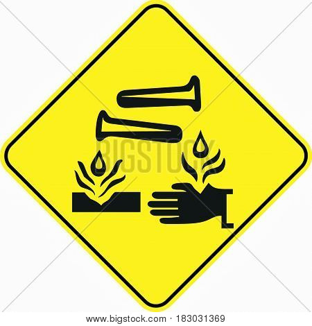 attention alert corrosive substance symbol sign logo yellow safety