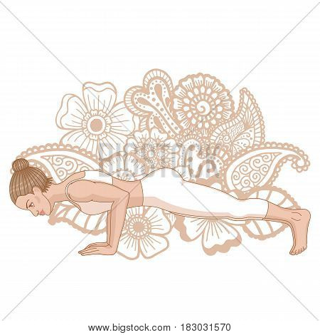Women silhouette. Four-Limbed Staff Pose. Low Plank yoga pose. Chaturanga Dandasana. Vector illustration