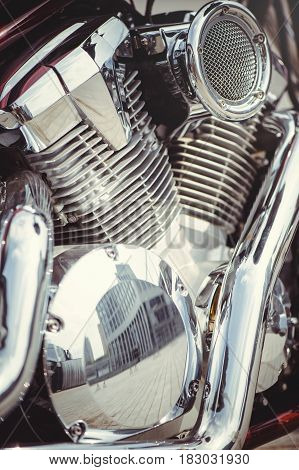 Chrome Motorcycle Air Filter And The Engine