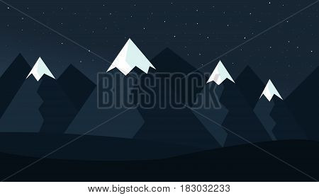Mountain cartoon night landscape with hills and mountains with peaks under snow light moon under dark night sky with stars with mist background - vector flat