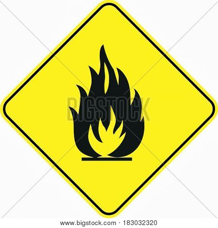 warning flammable material symbol sign logo yellow safety