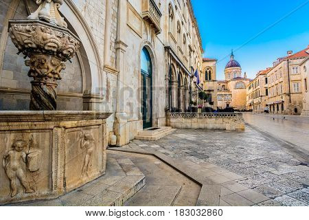 Old historic street in city center of famous town Dubrovnik, european travel resorts.