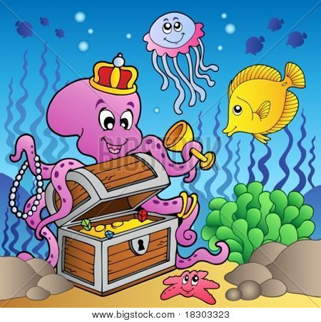 Cartoon octopus on treasure chest - vector illustration.