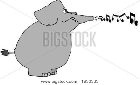 This illustration depicts an elephant blowing musical notes from its trunk. poster