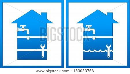 Set With House And Plumbing Wrench