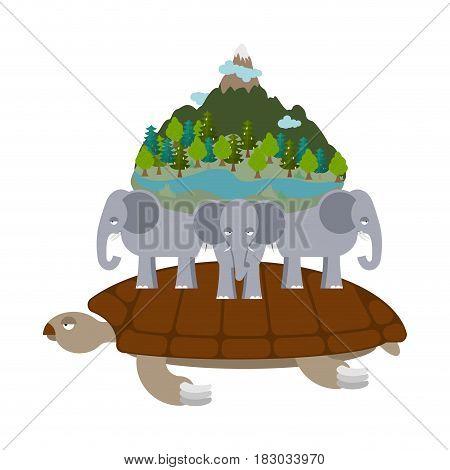 Mythological planet earth. turtle carrying elephants. Ancient representation of world