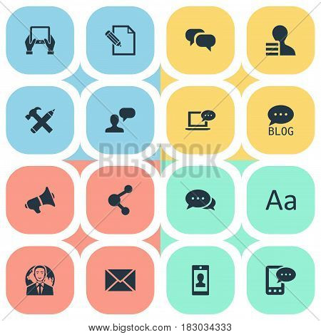 Vector Illustration Set Of Simple Newspaper Icons. Elements Site, Profile, Document And Other Synonyms Relation, International And Gain.