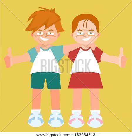 hugging twins children - funny vector cartoon illustration