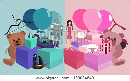 kids birthday gifts pile, girls vs boys - vector cartoon illustration about gender stereotypes