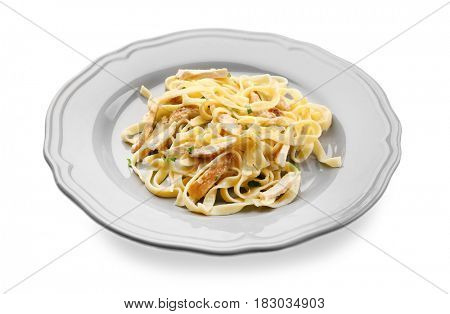 Plate with delicious Chicken Alfredo isolated on white