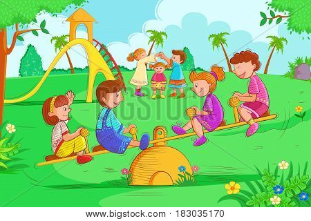 Vector design of Kids playing and enjoying on seesaw in summer vacation