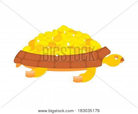 Golden Turtle Carries Gold Coins. Jewels On A Shell