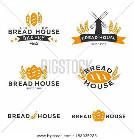 Set Of Bakery Shop Emblem, Labels, Logo And Design Elements. Vector Illustration.