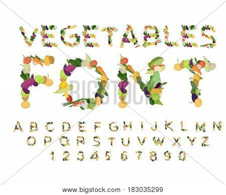 Vegetarian Font. Alphabet Of Vegetables. Edible Letters. Potatoes And Carrots Letters. Vegan Abc