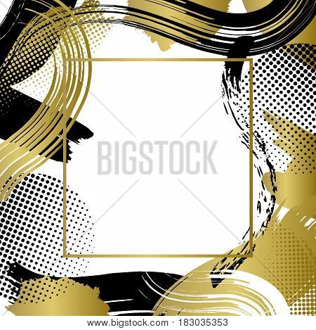 Frame  with vector golden and black patterns, modern graphic design elements, grunge textures or geometric background for brochure, bisness card, poster