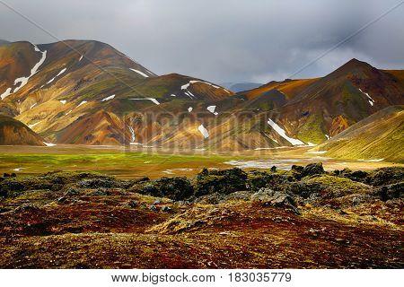The Rhyolite Rock mountains in Landmannalaugar area in Iceland