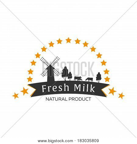 Milk Emblem, Labels, Logo And Design Elements. Fresh And Natural Milk. Milk Farm. Cow Milk. Vector L