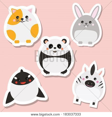 Cute kawaii animals stickers set. Vector illustration. Cat panda rabbit whale. Children style isolated design elements for kids books. Icons