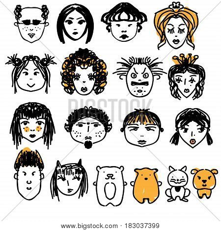 Doodle people faces. Hand drawn man and woman avatars cute children animals and other characters. Artisitic design elements. Vector illustration sketch