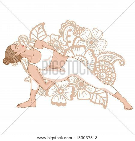 Women silhouette. Fully Bound Side Angle Yoga Pose Baddha Parsvokanasana Vector illustration