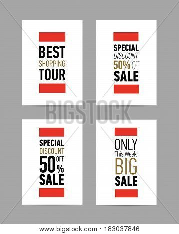 Set of four different Sale flyers, posters with fantastic discount offer on white background. Modern typography