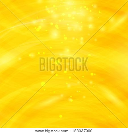 Yellow Burst Blurred Background. Sparkling Texture. Star Flash. Glitter Particles Pattern. Starry Explosion