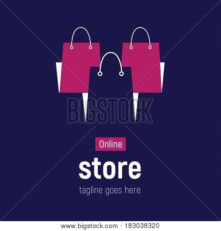 Web banner Online Store with shopping bags. Concept online shopping. Vector illustration