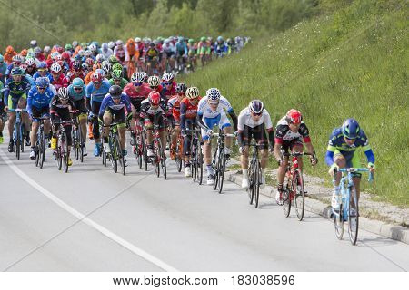 ZAGREB CROATIA - APRIL 23 2017: Bikers racing during 6th stage race in Tour of Croatia international cycling race run along Adriatic coast and inland.