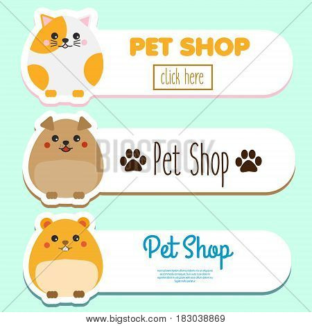 Pet shop banners with cute kawaii animal character: hamster cat dog. Vector collection of pet store clinic care advertisement design elements