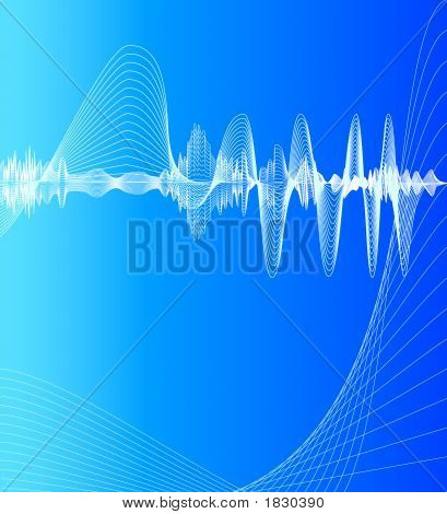 visualization of sound waves on a blue background poster