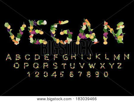Vegan Font. Alphabet Of Vegetables. Edible Letters. Potatoes And Carrots Letters. Vegetarian Abc