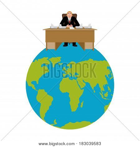 President Of World. Big Boss Planet Earth. Master Is Businessman. Director In Office. Chief Worker