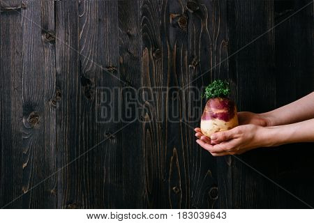 Organic Vegetables. Hands Holding Fresh Swede. Black Wooden Background With Copy Space