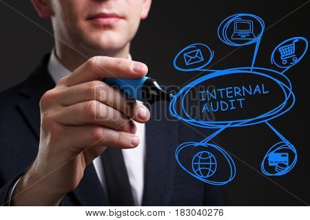 Business, Technology, Internet And Network Concept. Young Business Man Writing Word: Internal Audit