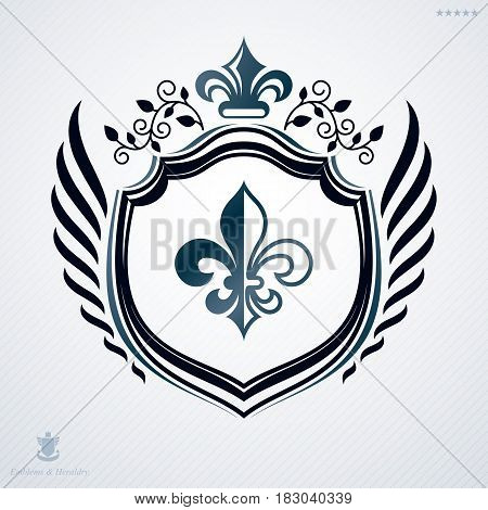 Luxury heraldic vector template. Vintage blazon created using lily flower royal symbol and floral ornament