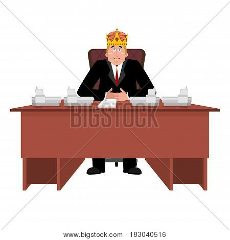 President In Crown At Desk. Modern King Is Businessman. Big Boss At Table. Director In Office. Chief