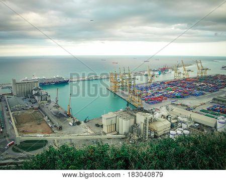 The industrial sea port of Barcelona, Catalonia