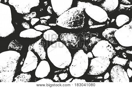 Distressed overlay texture of stones, grunge background. abstract halftone vector illustration.