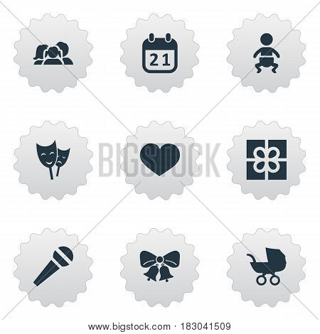Vector Illustration Set Of Simple Celebration Icons. Elements Infant, Mask, Box And Other Synonyms Jingle, Microphone And Soul.