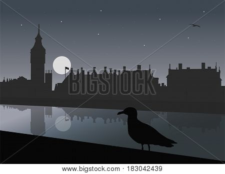 Night view of London with River Thames Big Ben Parliament and Westminster Palace with reflections in water under night sky with moon and stars and with seagull - vector illustration