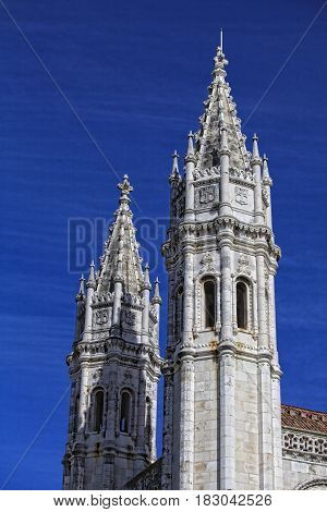 Lisbon - detail Jeronimos Monastery . UNESCO World Heritage Site