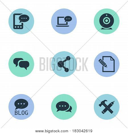 Vector Illustration Set Of Simple Blogging Icons. Elements Laptop, E-Letter, Gossip And Other Synonyms Share, Phone And Negotiation.