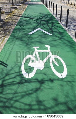 Bicycle sign on the road in Lisbon Portugal