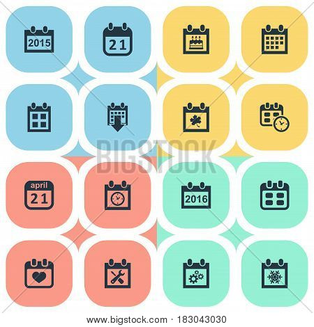 Vector Illustration Set Of Simple Calendar Icons. Elements Agenda, Annual, Planner And Other Synonyms Heart, Almanac And Snowflake.