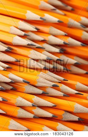 Background of the yellow pencils, close up